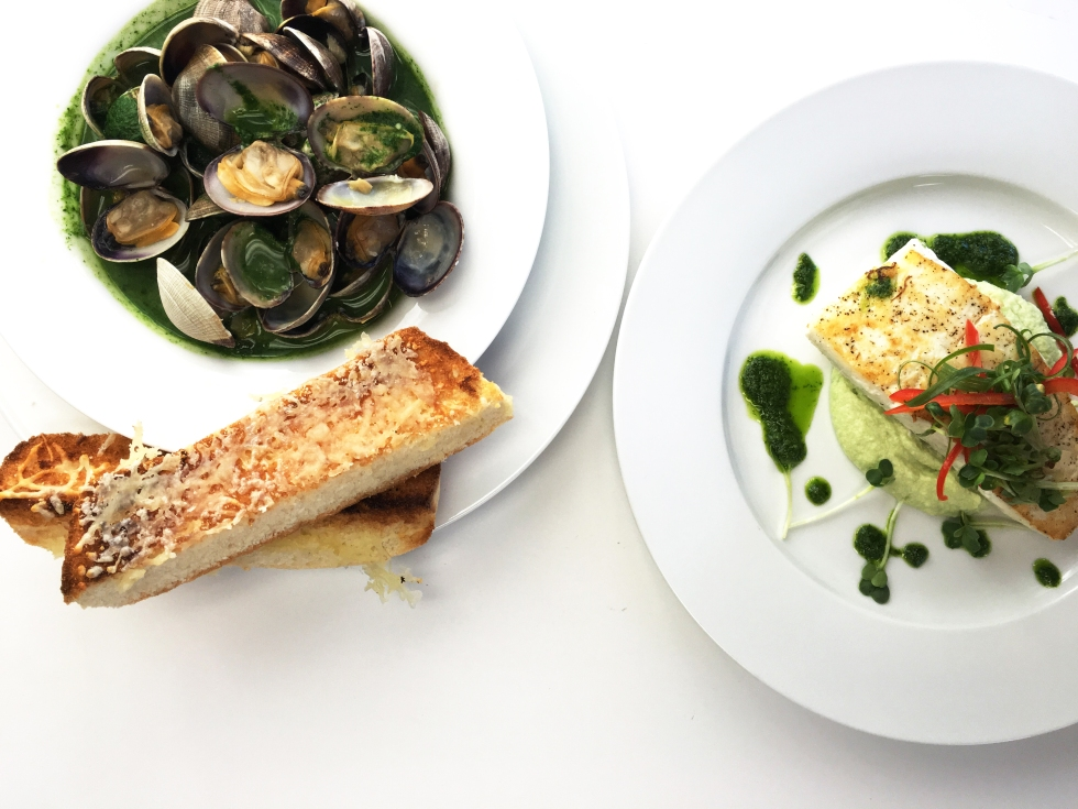 St. Paddys Day clams and halibut